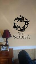 Circle Life Buoy & Family Name Wall Sticker Nautical Lake Beach House