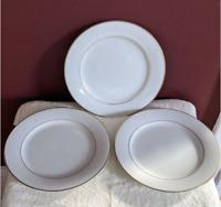 Noritake China Dawn Dessert Plate 8-1/4'' Set of 3 Gold Rim