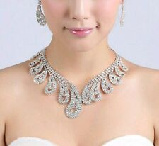 Prom fête de mariage mariée bijoux strass cristal perle collier boucles d'oreilles sets