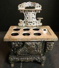 "Antique Cast Iron Eagle Doll House 6 Burner Stove No Lids 10"" x 8"" x 5"" V. Good"