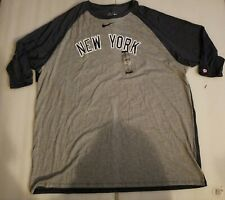 NWT Nike MLB New York Yankees Gray/Blue short sleeve Raglan Shirt 3XL Baseball