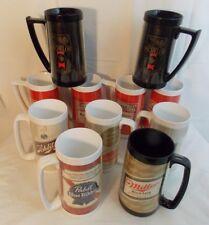 10 THERMO-SERV Beer Mugs Budweiser, Schlitz, Miller, Pabst, Schaefer, Michelob