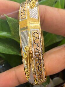 Vintage Dubai Handmade Jaguar Men's Bangle Bracelet In 916 Solid 22Karat Gold