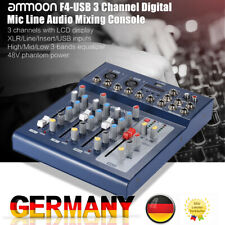Audio Mixer 3 Kanal Mischpult Mischer USB XLR MP3 48V Phantomspeisung V1E2