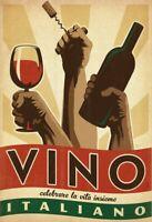 Vino Italiano Blechschild Metallschild Schild gewölbt Metal Tin Sign 20 x 30 cm