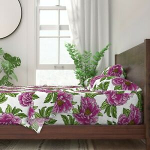 Floral Botanical Flower Garden Peonies 100% Cotton Sateen Sheet Set by Roostery