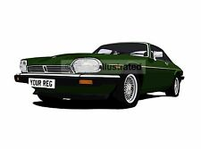 JAGUAR XJS GRAPHIC CAR ART PRINT. PERSONALISE IT!