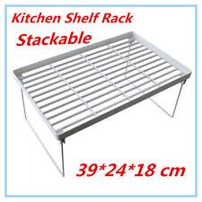 6 x Kitchen Pantry Plastic Shelf Rack Food storage Organiser Bathroom Office FD