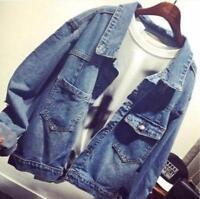New Womens Oversize Korean Style Loose Denim Jean Jackets Short Casual Coat Size