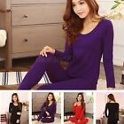 New Womens Thermal Pajamas Set Sleepwear Nightgown Long Sleeve Slim Top+Pants