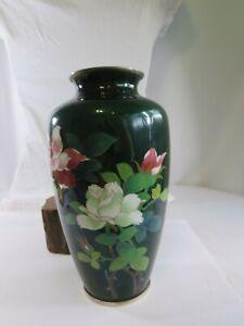 Antique Japanese Ginbari Guilloche Flower Bird Bamboo Vase