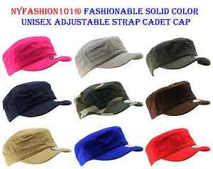 NYFashion101® Fashionable Solid Color Unisex Adjustable Strap E-Flag® Cadet Cap