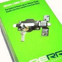 LONG THROW DOUBLE LOCKING 50mm LOCK + 5 KEYS + FIXINGS - GATE SHED GARAGE DOOR