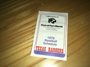 1979 Texas Rangers First of Fort Worth Bank Pocket Baseball Schedule