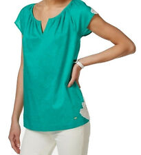 NEW(MY375) Tommy Hilfiger Short-Sleeve Crochet-Trim Top Turquoise Sz S/P $69.50