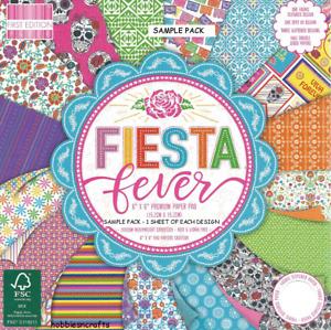FIESTA FEVER Dovecraft 6 X 6 Glitter Sample Paper Pack - 200 gsm Skulls Flowers