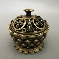 "3"" xuande marked Chinese antique bronze louts flowers Incense Burner statue"