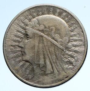 1932 POLAND Queen Jadwiga & Eagle Polish Antique Silver 10 Zlotych Coin i95713