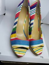 Nine West Wild Thingo Multi-Colored Striped Wedges Heels Shoes Size 11M