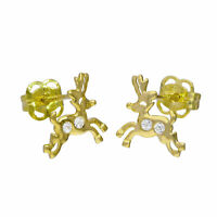9ct Gold & Clear CZ Crystal Running Reindeer Stud Earrings Christmas Rudolph
