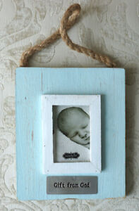 """NWT MUD PIE Blue 'Gift from God' Distressed Picture Frame, Holds 2"""" x 3"""" photo"""