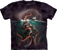 The Mountain Octopus Unleashed Ship Unisex Adult T Shirt, Dark Purple