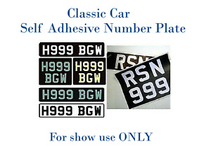 Classic Car Show Number Plate Stick On Self Adhesive UK legal number plates