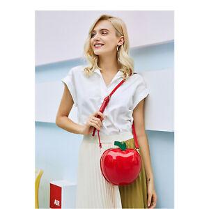 Women Girls Apple Shaped Patent Shinny Zip Cross Body Bag Ladies Fashion Handbag