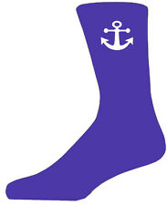 High Quality Purple Socks With a White Anchor, Lovely Birthday Gift