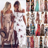 Boho Womens Holiday Off Shoulder Floral Maxi Ladies Summer Beach Party Dress