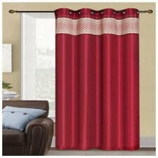 """Rio Faux Silk Grommet Top 90"""" Curtain Panel Two Pack Burgundy"""