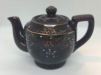Vintage JAPAN Brown Teapot Floral Moriage Small JAPANESE Tea Pot Hand Painted