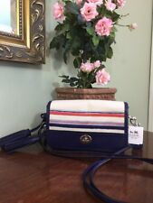 New Coach Legacy Blue Stripe Penny Crossbody Bag Turnlock Tassel 22396 B01
