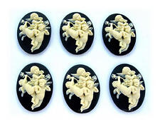 6 CHRISTIAN RELIGIOUS IVORY color 3 ANGELS on BLACK 40mm x 30mm CAMEOS Crafts