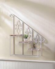 WHITE IRON & PINE WOOD STAIR STEPS PLANTER WALL SHELF DECOR-10017538