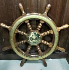 Nautical Replica Ship Steering Wheel Wooden & Brass 1 Pcs