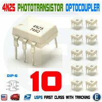 10pcs 4N25 Optocoupler Phototransistor 30V IC dip-6 Arduino Optoisolator EL4N25