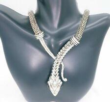 Silver tone nobby Snake bib choker necklace statement piece US seller