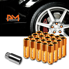 M12X1.5 Orange JDM Open-End Acorn Hex Wheel Lug Nuts+Extension 25mmx60mm 20Pc