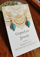 Turquoise Earrings Gypsy Jewelry 925Silver Crystal Gemstone Oval
