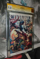 Civil War # 7 CGC 9.8 SS Michael Turner rare Variant cover WHITE Pages