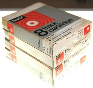 8-track 8 track tape cassette cartridge 4 x  BASF BLANK TAPES 64MIN BOXED
