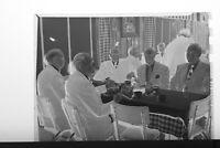 (2) B&W Press Photo Negative Men Suits Banquet Tables Socializing Coffee T3673