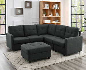 Sectional Sofa Set Modern Linen Fabric with Reversible Chaise L-Shaped Couch