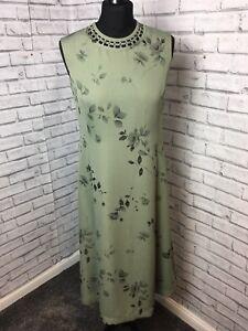 Viyella petite Size 8 Olive Green A Line Dress Sleeveless Leaf Print wedding