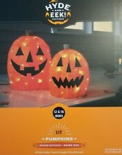 "NEW Hyde and Eek Boutique 12 & 16"" Lit Halloween Sisal Pumpkins Indoor/Outdoor"