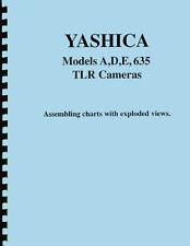 Yashica A D E 635 Camera Repair Assembling Charts Exploded Views