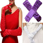 Women Long Satin Drape Full Finger Gloves Dress Bride Wedding Evening Prom US
