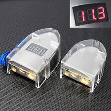 SILVER VOLTAGE DIGITAL LED DISPLAY CAR BATTERY TERMINAL POSITIVE  NEGATIVE SET
