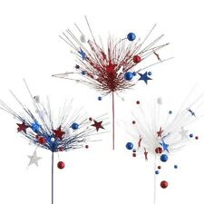 Fourth of July Red White Blue Star and Ball Floral Sprays S/3  f3306609 NEW RAZ